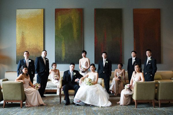 classically composed and beautiful wedding group photo by GH Kim Photography