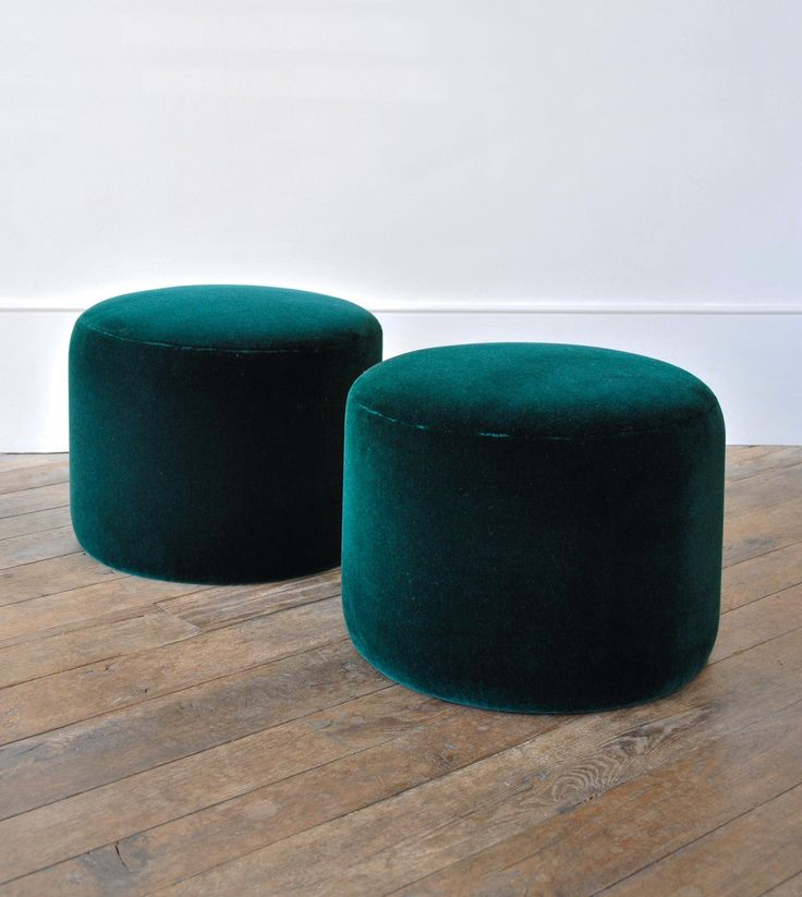 Small Round Ottoman by Rose Uniacke   Rose Uniacke - idea: tuck them under piano to create additional seating when needed - pretty to look at