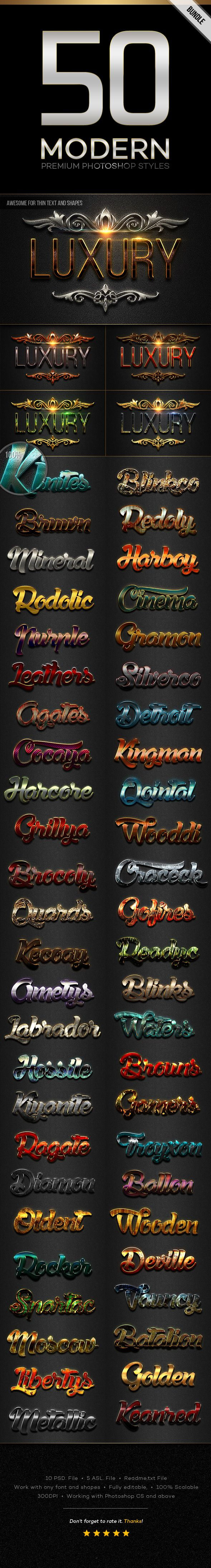50 Modern Styles Bundle - Text Effects Styles