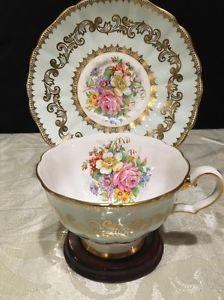 Vintage Tea Cup Grosvenor Bone China England Floral Gold Light Mint Green