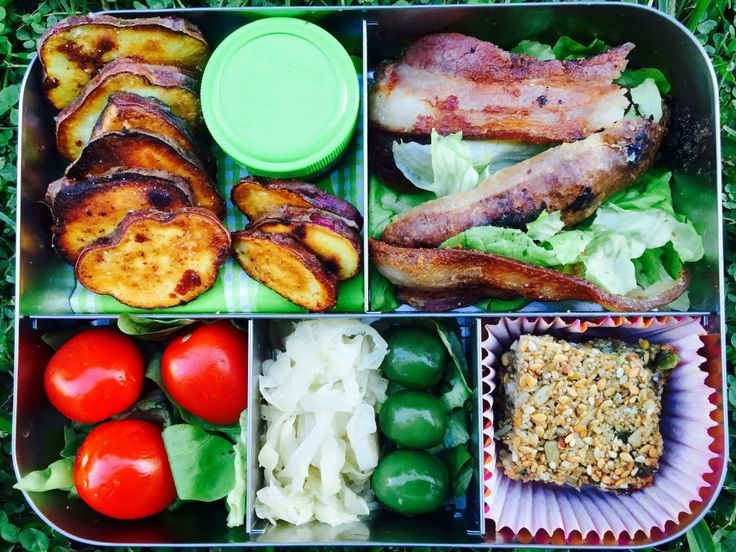 Real Food Lunchbots Lunchbox • @domskitchen • Today Chef Dom's real food lunchbox has: Kumara Chips (= Sweet Potato chips rubbed with coconut oil then baked in oven), Home made aioli, Bacon & lettuce, Cherry tomatoes, Sauerkraut, Olives, Home-made nut free bar.