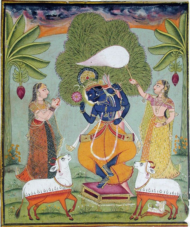 Krishna dancing atop a stool, attended by two gopis. | by thesandiegomuseumofartcollection