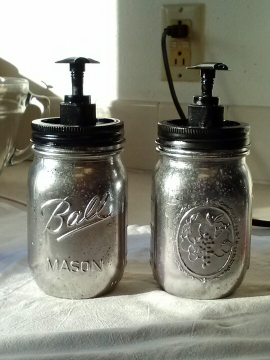 Mason Jar Soap Dispensers Painted With The Krylon Looking