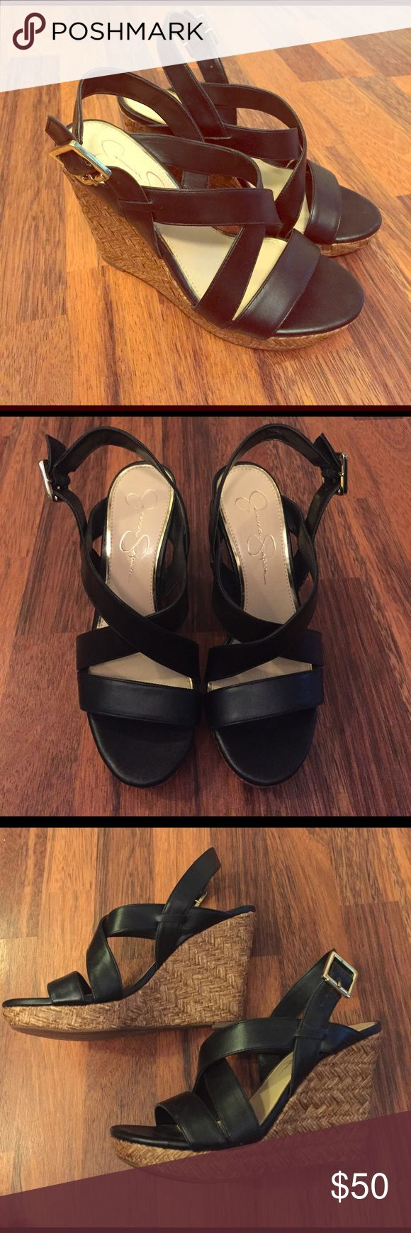 NWOT Jessica Simpson Black Wedge Sandals These Jessica Simpson wedges have never been worn and are perfect for summer! Jessica Simpson Shoes Wedges