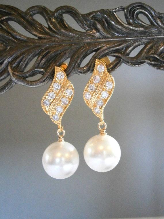 Wedding Jewelry Pearl Earrings Bridal Gold CZ Bridesmaid
