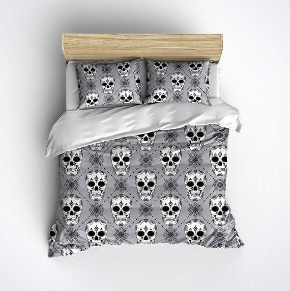 Silver Grey Fleece Harlequin Pattern Sugar Skull Bedding - Sugar Skull Comforter Cover, Sugar Skull Bed Set, Sugar Skull Bedding