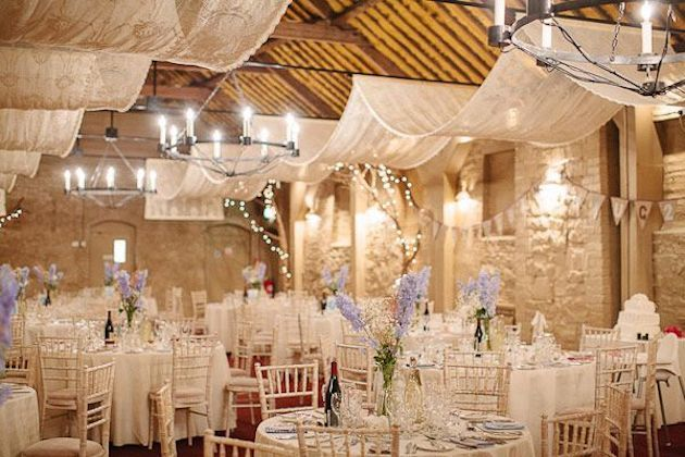 10 Best Barn Venues in the World | Larchfield Estate | Bridal Musings 1 I love the fabric hanging from the ceiling