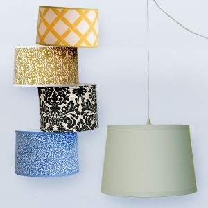 great way to revamp lampshades with fabric!