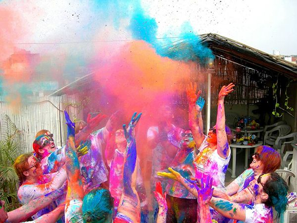 #Holi celebration in India on a G Adventures trip Tuesday.