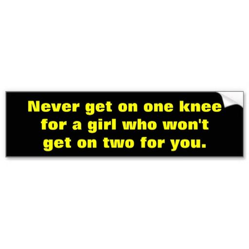 Never get on one knee bumper sticker funny bumper stickerswhat