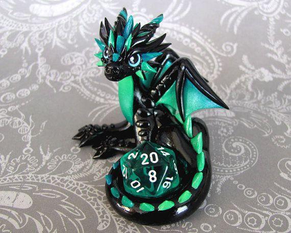 Turquoise Gradient Dice Dragon by DragonsAndBeasties on Etsy