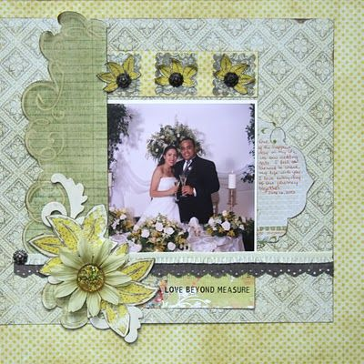 I love the colors! Wedding scrapbook layout, scrapbooking page ideas, scrapbook page layouts, scrapbook pages, find scrapbooking pages