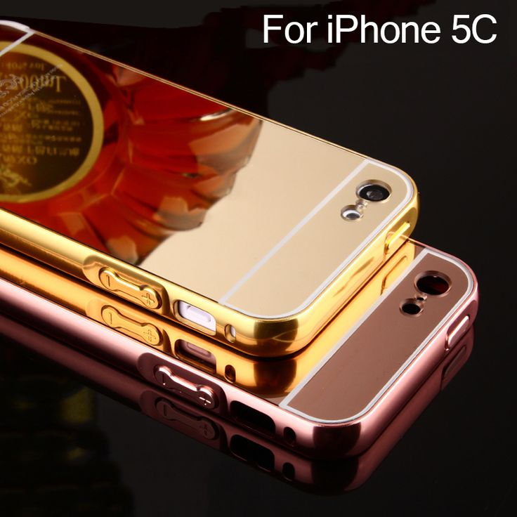 For iPhone 5C Mirror Hard Case For iPhone 5C Luxury Rose Gold Silver Aluminum Frame + Acrylic Caso Cases Cover for iPhone 5C