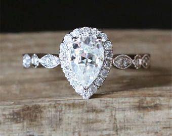 C&C Forever One Moissanite Engagement Ring 5*8mm Pear Cut Moissanite Ring Halo Diamonds Half Eternity Diamonds Ring 14K White Gold Ring