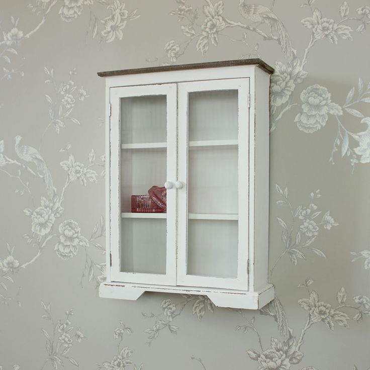 White Wooden Glazed Display Cabinet