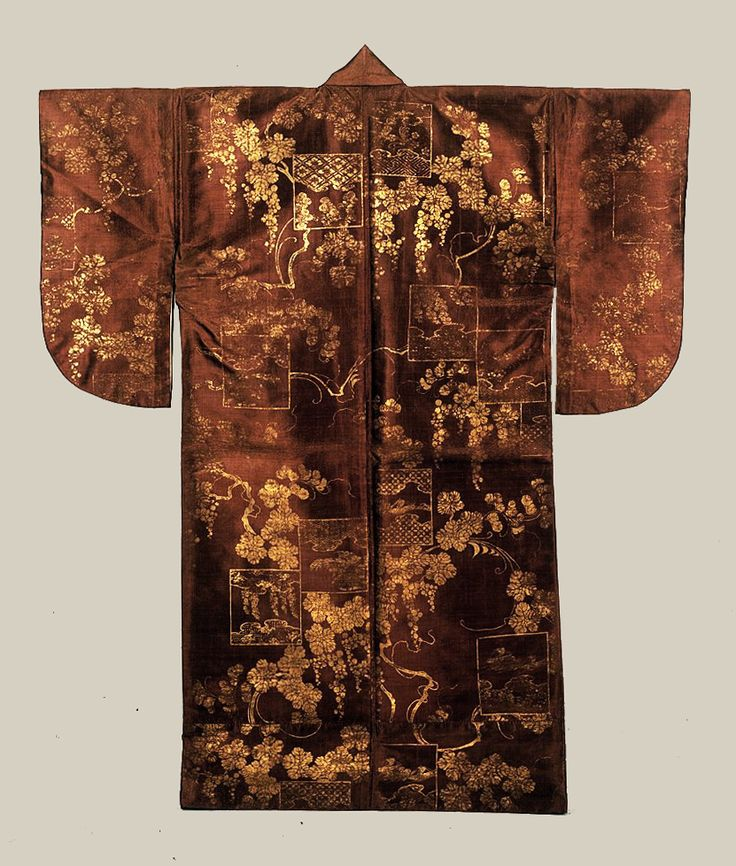 """Silk Surihaku (Noh theatre costume).Azuchi-Momoyama Period,  16th century, Japan. Designated by Japan as """"Important Cultural Property"""" Tokyo National Museum. This example would be one of the oldest extant Noh theatre costumes."""