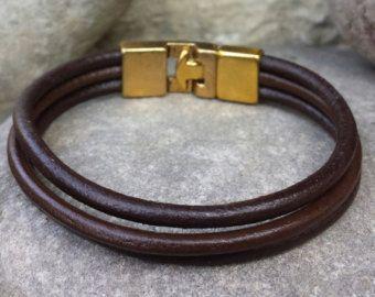FREE SHIPPING- Men's Bracelet, Men's Leather Bracelet, Thick Brown Leather Bracelet, Men's Cuff bracelet, Bracelets for Men, Bangle Bracelet