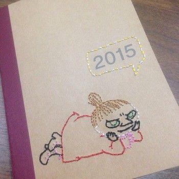 無印良品の手帳にもミイさんの刺繍をして、オリジナルに☆ 吹き出しがかわいいですねー!