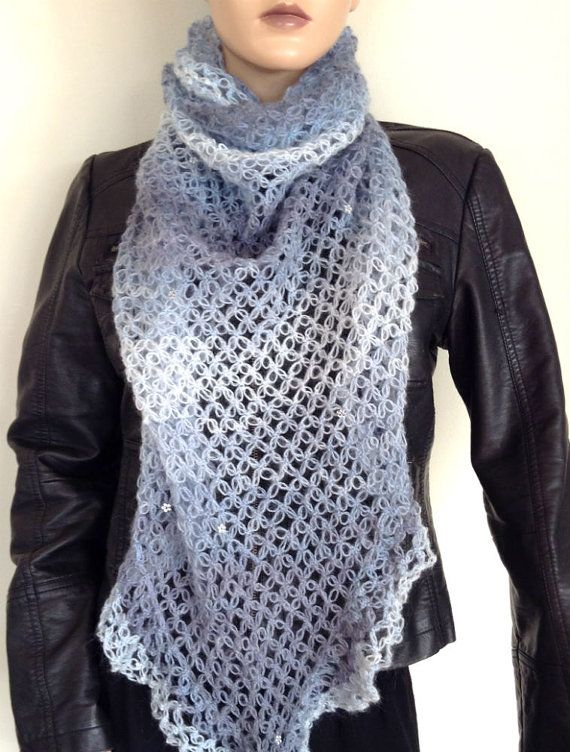 Hand knitted shawl, poncho , knit capelet,