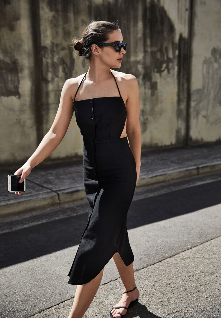 Straps black dress fitted curved hem work backless cut out