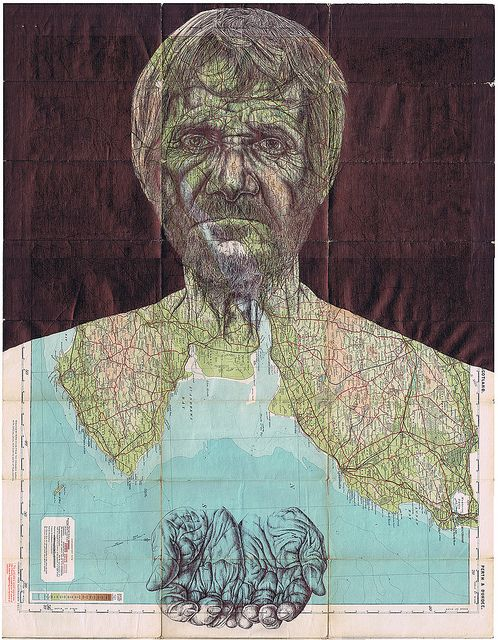'screaming silhouettes (homeless)' Bic biro drawing on an antique map by Mark Powell
