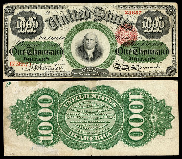 $1,000 Legal Tender note, Series 1862–63, Fr.186e, depicting Robert Morris.