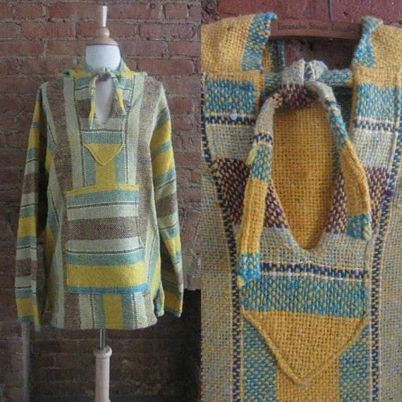 Vintage 1970s Mexican Blanket Hoodie - 70s Baja Ethnic ...