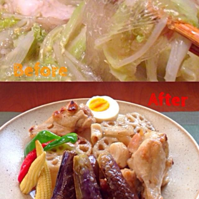 Before♨️Vermicelli soup of the chicken Wings by chef hubby  昨夜、口が開け辛いからお寿司が微妙だった時ようにスープ作るも柔らかい白菜と春雨、スープのみ食べて残ったので お味噌汁代わりにお野菜とスープ飲んだので、味を中華から変えてチビ〜ズが食べられるように柔らかく煮てから揚げてお野菜追加で和風にリメイク✌️ - 38件のもぐもぐ - Remake✌️Deep-fried chiken w/tsuyu 手羽元の揚げ煮 by Ami