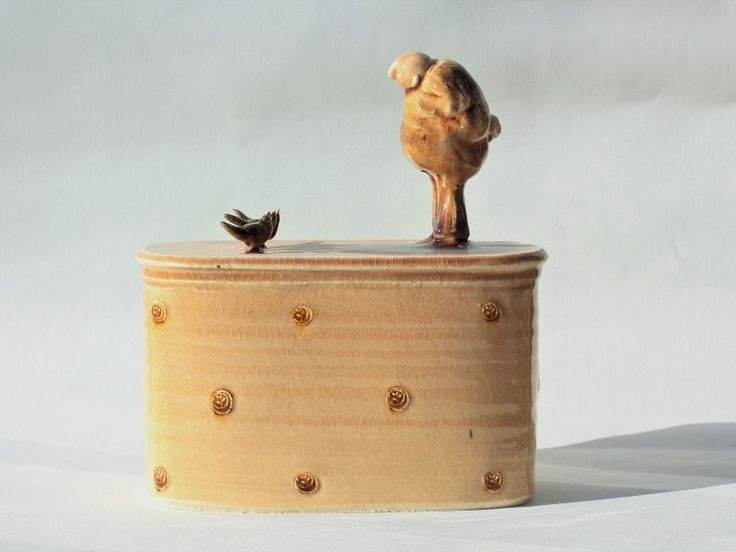"Ceramic sculpture, ""Man with birds"", stoneware clay."