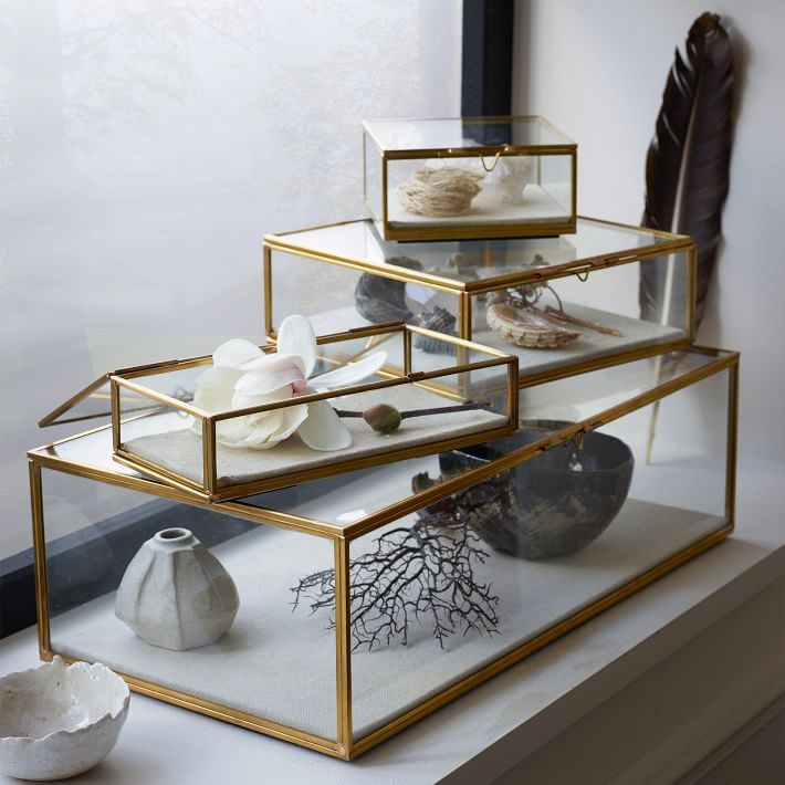 Golden Glass Shadow Box, Large Square, Gold