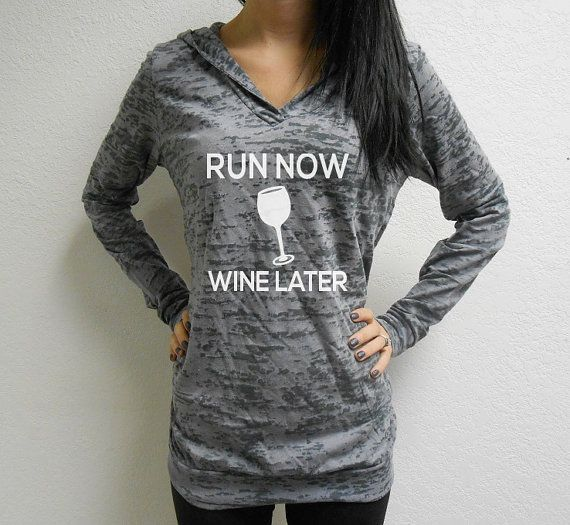 Run Now Wine Later Workout Hoodie. Running by StrongGirlClothing, $33.99