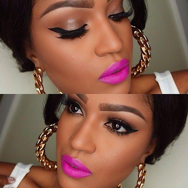 Black And Pink Kiss Makeup: 42 Best Black Women Make-up Images On Pinterest
