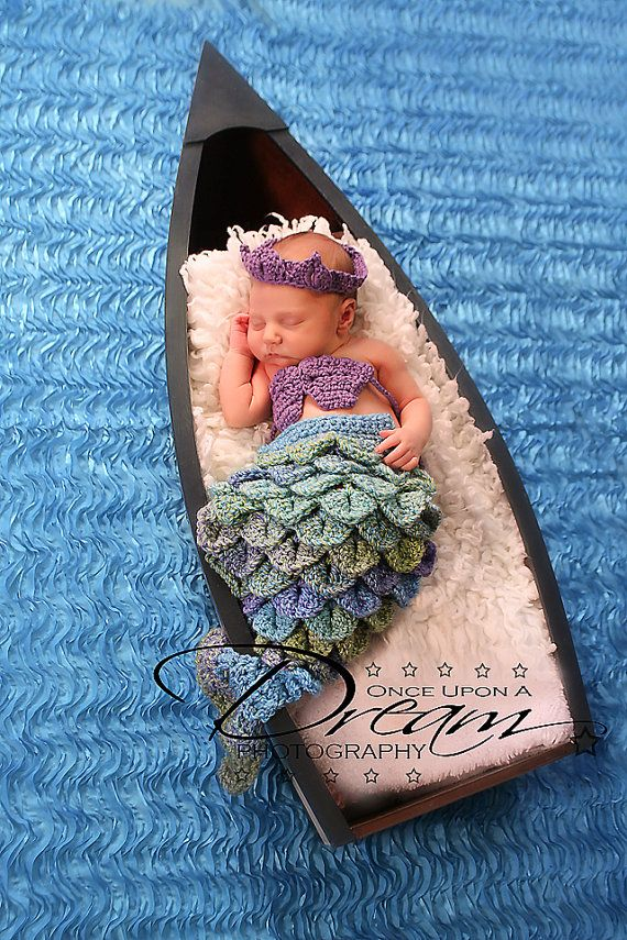 Lil Princess Mermaid Tail, Shells, and Crown Set Photography Prop for Newborns via Etsy
