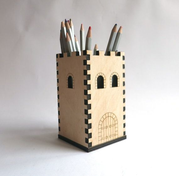 Laser Cut Pencil House Wooden Pencil Holder Small By