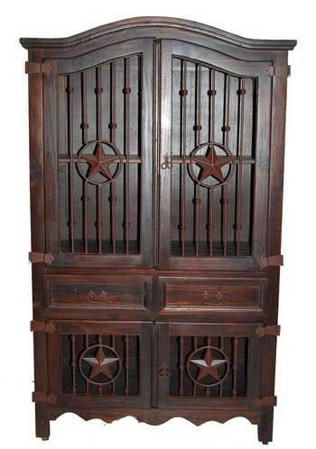 Beautiful dark stained rustic armoire/media cabinet with iron door panels...LOVE!!