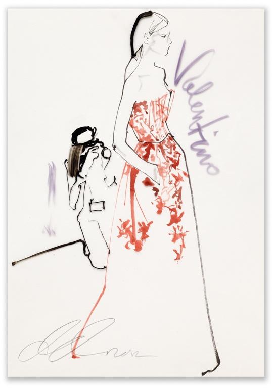 David Downton - Valentino, Paris Couture for Vogue.COM / Fashion Illustration Gallery