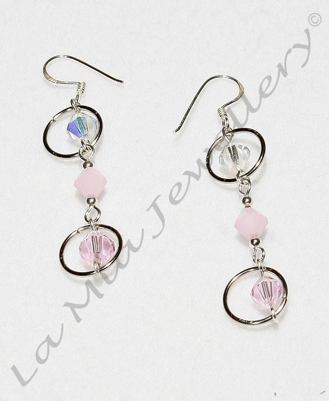 Girly Crystal Drop Earrings - Sterling Silver Hooks