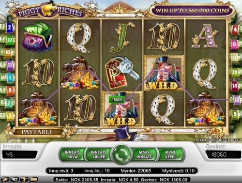 408 x total bet win on Net Entertainment slot Piggy Riches. Win 1806 NOK = 245€ and bet 4.5 NOK = 0,60€  You can find hundreds of Big Win pictures and more videos here: http://www.bigwinpictures.com