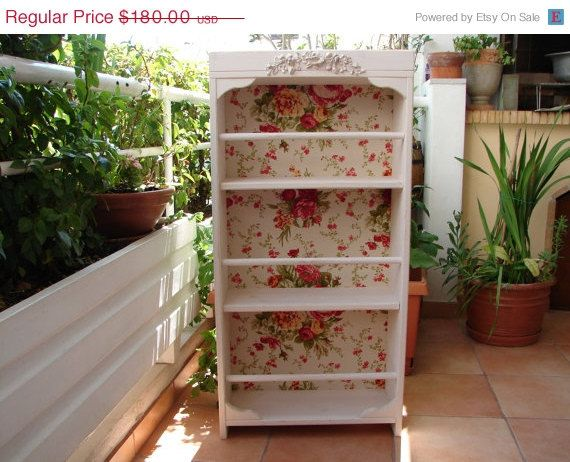 French shabby chic rosesvintagecream wooden by shabbyfrenchstyle, $153.00- I bet you could make this easy. take a bookshelf, your favorite wallpaper, paint and a wood decal from lowes and it would be beautiful