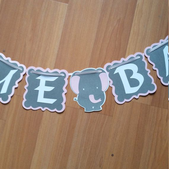 Elephant Baby Shower Banner baby shower by ReginesPartyBoutique