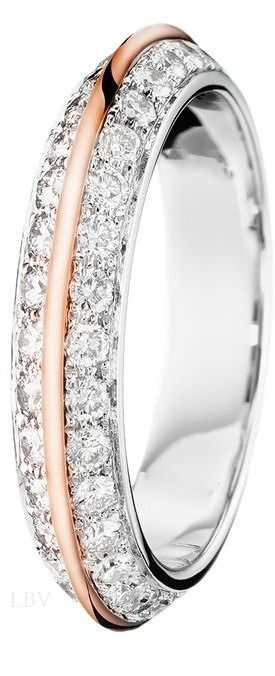 White Gold Wedding Band with Rose Gold Center Piece