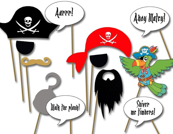 Image of Pirate party photo booth props- printable diy Pirate birthday party decorations