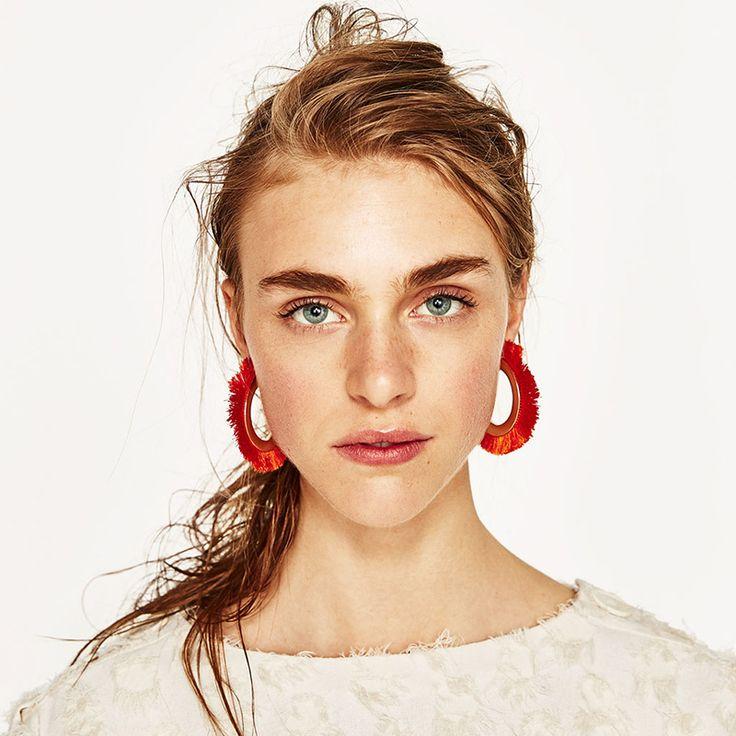 Fringe Hoop Statement Earrings