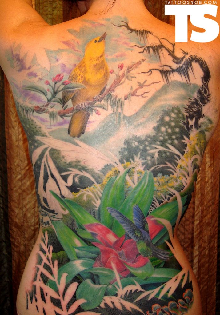 Jungle theme back tattoo tattoos pinterest jungle for Tropical themed tattoos