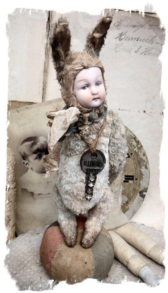 "Образ пупсик * Антикварная немецкая фарфоровая Кукла Глава 8"" кролик Старый Заяц * по Whendi Медведь"