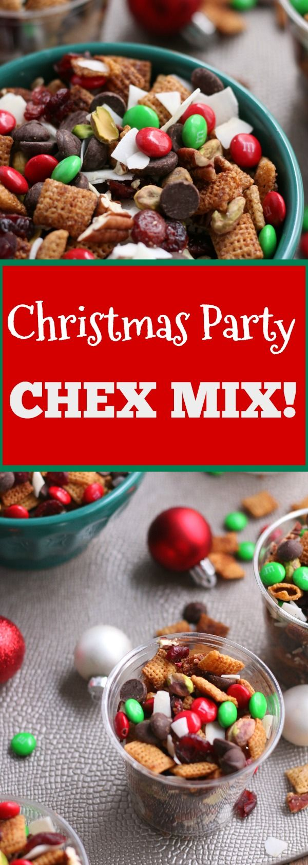 This Christmas Party Mix is SO easy to make! Cinnamon Sugar Chex meets a healthy trail mix for the perfect combo. /grabsomjoy.com