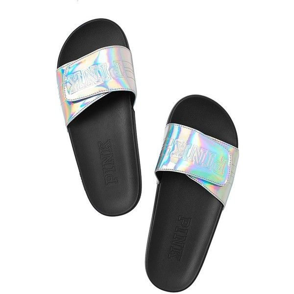 Amazon.com: Victoria's Secret PINK Crossover Comfort Slide Sandals... ($60) ❤ liked on Polyvore featuring shoes, sandals, victoria secret sandals, victoria's secret, slide sandals and victoria secret shoes