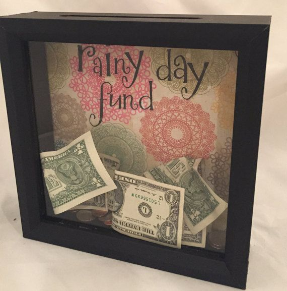 8x8 Rainy Day Fund Shadow Box Money Bank Saving