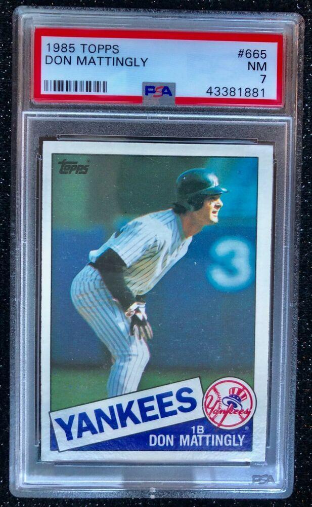 1986 Topps Don Mattingly 665 Baseball Card New York Yankees Psa 7 Nm Newyorkyankees Baseball Cards Don Mattingly New York Yankees