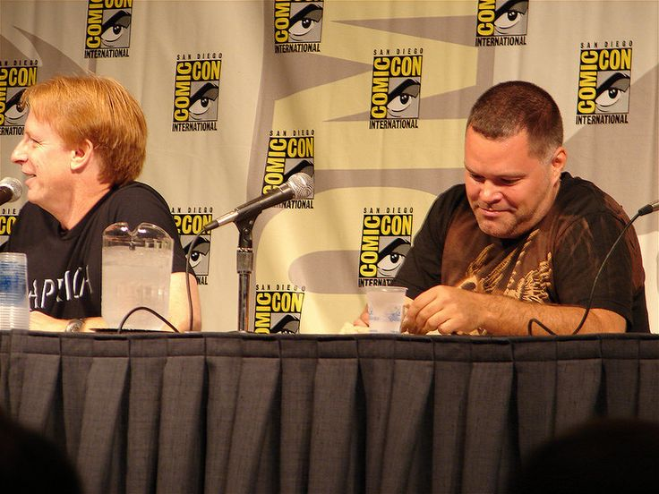 """Battlestar Galactica panel: Dr Kevin Grazer, science adviser for the show and actor Aaron Douglas (""""Chief Tyrol"""")"""